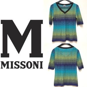 M Missoni V Neck Short Sleeve Sweater Top